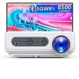 WiMiUS Proiettore WiFi Bluetooth 1080P Nativo, Videoproiettore 8500 Lumen, Proiettore Full HD 4K, Funzione Zoom, Proiettore LCD per Home Cinema, per Smartphone/iOS/Android/TV Stick/PS4/PC