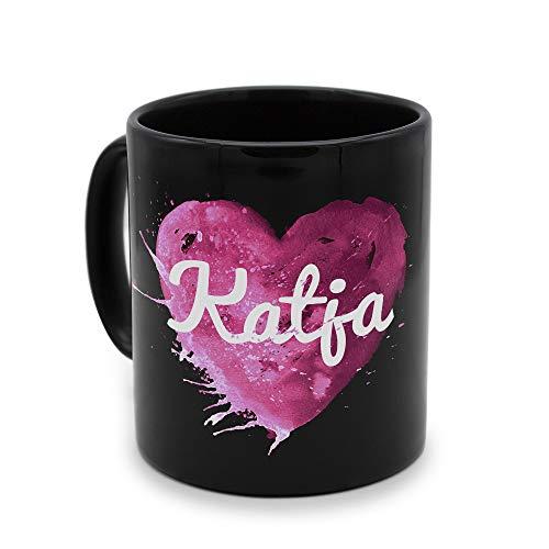 printplanet - Tasse Schwarz mit Namen Katja - Motiv: Painted Heart - Namenstasse, Kaffeebecher, Mug, Becher, Kaffeetasse