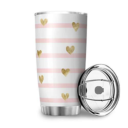 Wraill Tazas de acero inoxidable con diseño de rayas y corazones, de doble pared, al vacío, con tapa, color blanco, 600 ml