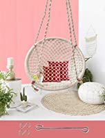 Curio Centre Make in India Round Cotton Home Swing & Hammock Chair (145 cm X 57 cm X 43 cm, White, 100 kgs Capacity)