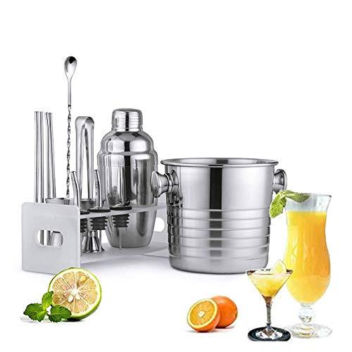 YUYANDE Shoker Cocktail Shaker Set, Professional Bartender Kit con 12 - Agitro de Acero Inoxidable Bebida Filtro Incorporado, un agitador, un SP Transferencia, medición, Pinzas de Hielo
