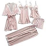 ABMBERTL Pijama Conjunto de Pijama de 5 Piezas de Seda sintética de Verano para Mujer Talla Grande Crochet Apliques de Encaje Floral Trimwear Ropa de Dormir Color sólido Camisón, Rosa, S