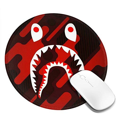 Ba-pe Camo Blood Shark Face Mousepad Non-Slip Rubber Gaming Mouse Pad Mouse Pads for Computers Laptop 8.0x8.0 in