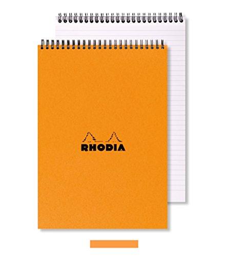 Rhodia - Blocco per appunti formato A5, con doppia spirale, 80 fogli, colore: arancio