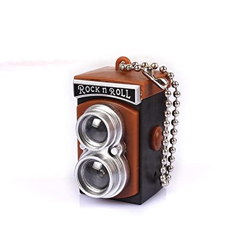 Llavero portátil con cámara de luz flash y cadena de intermitencia, mini linterna de bolsillo llavero divertido llavero llavero llavero cadena retro regalo
