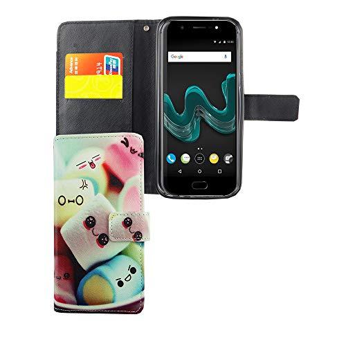 König Design Handyhülle Kompatibel mit Wiko Wim Handytasche Schutzhülle Tasche Flip Hülle mit Kreditkartenfächern - Marshmallows