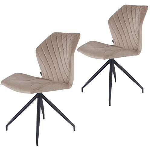 Rocky Esszimmerstühle 2er Set | Design Stuhl mit Stoffbezug (Samt Taupe)