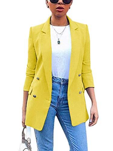 ORANDESIGNE Blazer Mujer Chaqueta de Traje Slim Fit Elegante Casual Oficina Negocios Outwear Solapa Manga Larga Chaqueta de Traje para Mujer A Amarillo 3XL