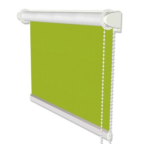 INTERDECO Verdunkelungsrollo/Thermo Rollo, Grün BxH 75,5 x 175 cm, Klemmfix Rollos ohne Bohren, Seitenzugrollos mit Silberbeschichtung