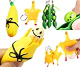 Cocobuy 3 Pack Fidget Toys Stress Relief Toys Squeezing Toys Keychain Mobile Chain Banana Squeeze Squeeze Bean Chicken Squeeze Stress Relief Toys Tricky Toys (Color A)