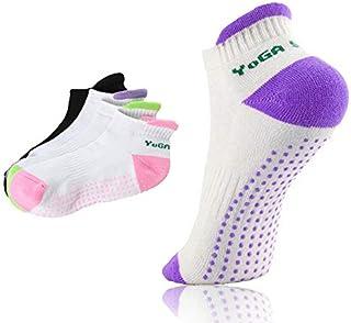 QX-DIMDIM 3 Pares Antideslizante Calcetines de Yoga/partículas de Resina respetuosas con el Medio Ambiente Yoga Calcetines Antideslizantes Calcetines Gruesos Calcetines de Masaje Ant