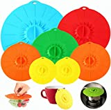 【7 Pack】Silicone Covers, Various Sizes Food Cover, Reusable Suction Seal Heat Resistant Microwave Lids for Cups, Bowls, Plate, Pots, Pans, Skillets, Stove Top, Oven, Fridge, BPA Free.