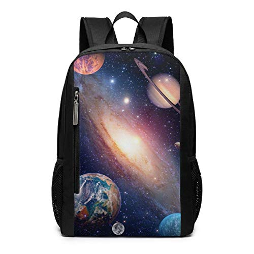 Mars Saturn Solar System Planets and Galaxies Outdoor Travel Laptop Backpack 17 Inch