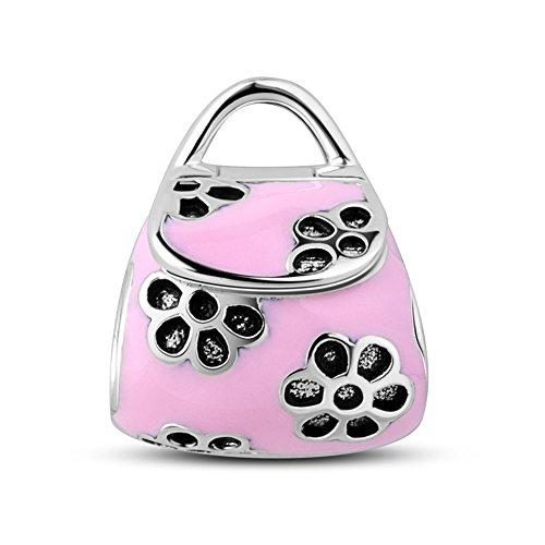 Tinysand Damen Handtasche Blumen Pink Beads Charms Verstellbar Elegant Armband Herstellung Schmuck