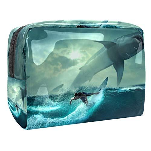 Neceser de Maquillaje Estuche Escolar para Cosméticos Bolsa de Aseo Grande Tabla de Surf Fish