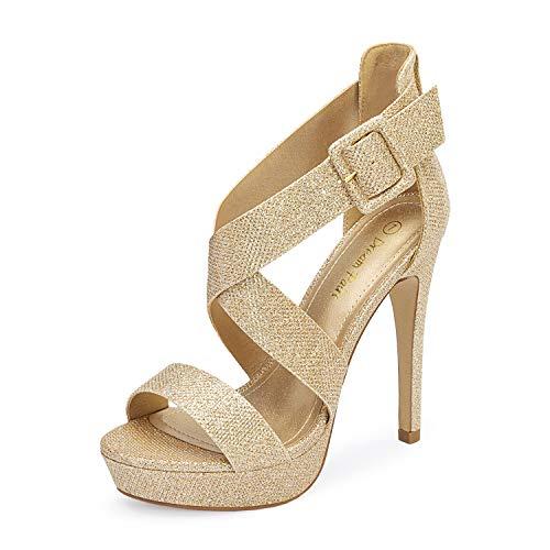 Dream Pairs Women's Gold Glitter Cross Strap Open Toe High Stilettos Party Pump Platform Heel Sandals Size 8 US Charlotte