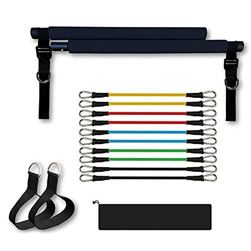 Gimnasio en casa Pilates Bar Stick, Pilates Bar Kit, Pilates portátil Bar Kit, Cinturón de Yoga ajustable para mujeres y hombres en cuclillas y entrenamiento de glúteos