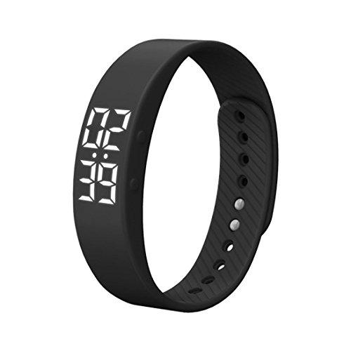 3D acceleration Rawdah Sports Calories Pedometer Smart watch Braccialetto di vigilanza del braccialetto del polso del braccialetto del calendario di calorie di sport di T5S (nero)