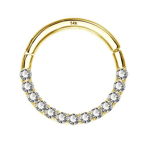 COCHARM 14K Solid Gold Hinged Clicker Segment Ring 16 Gauge Lip Nose Hoop Septum Helix Daith Tragus Cartilage Earring CZ 8mm