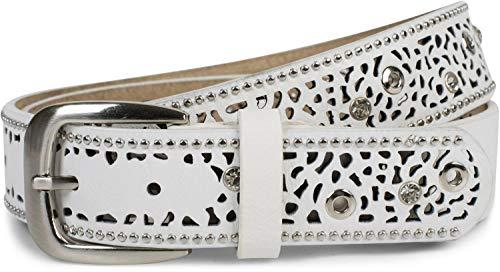 styleBREAKER Damen Gürtel mit Cutout Lochmuster, Strass und Nieten, Vintage Nietengürtel, kürzbar 03010092, Farbe:Weiß, Größe:100cm