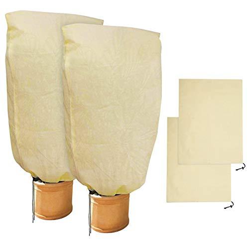 GeeRic 2 Stück Winterschutz für Pflanzen Winterschutz Kübelpflanzensack, beige, stark, 100 x 80 cm