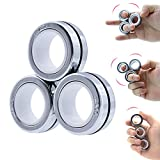 KAKALUOTE Decompression Magnetic Rings Fidget Toys, Pack of 3, Silver, Copious Training Relieves Reducer Anxiety, Stress,Cool Neodymium Magnet Spinner for Adult