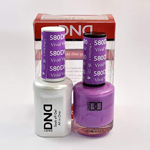 DND Daisy Duo Soak off Gel and Matching Nail Polish - 2016 Collection + Buy 2 colors get 1 FREE airbrush Stencil - (580 - VIVID VIOLET)