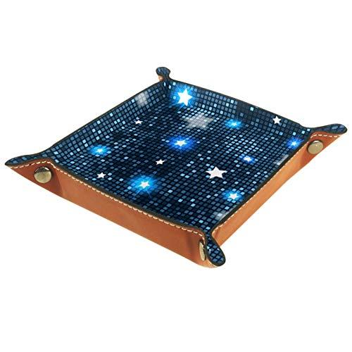Ledertablett,Schmucktablett Dekoplatte,Abstrakte blaue Sterne-Fliesen,Leder Tablett,Aufbewahrungstablett für Schmuck Schlüssel Armbanduhr Wohnzimmer Tisch Küche