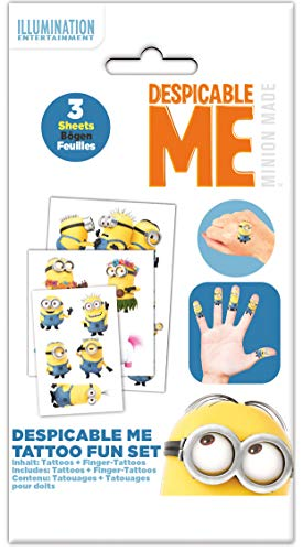 Craze Minions Kindertattoo Tattoos für Kinder Kinderschmuck 56746, Mehrfarbig, 15 X 9 cm