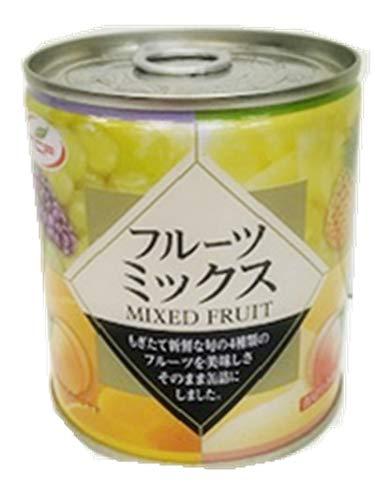 フルーツミックス缶詰【 312g×24個セット】 白桃、黄桃、パイナップル、ぶどうの4種類のミックスフルーツ缶 EO缶 缶切り不要 プルトップ缶 まとめ買い
