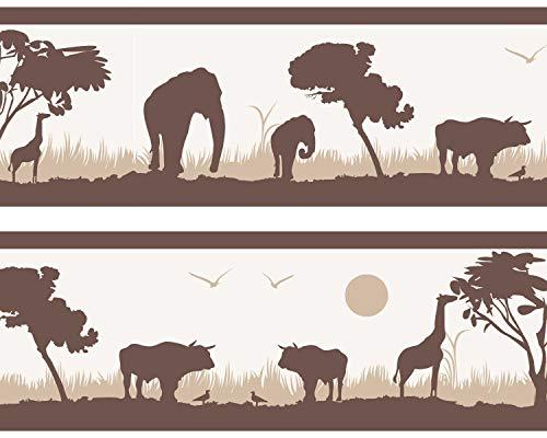 Kleisterbordüre Afrika, 4-teilig 520x15cm, Tapetenbordüre, Wandbordüre, Borte, Wanddeko, braun, beige