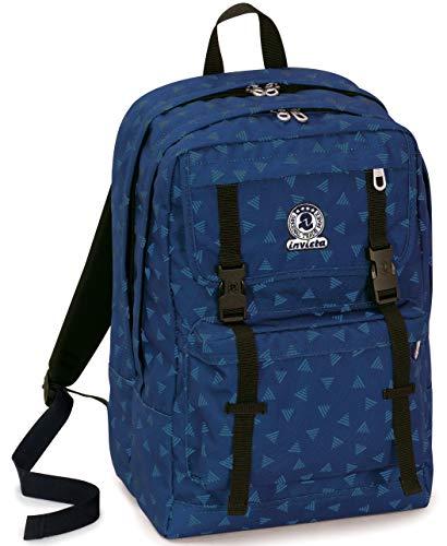 Zaino Duffy Invicta Triangle, Blu, 30 Lt, Doppio Scomparto, Tasca Porta Laptop fino a 15'', 45 cm