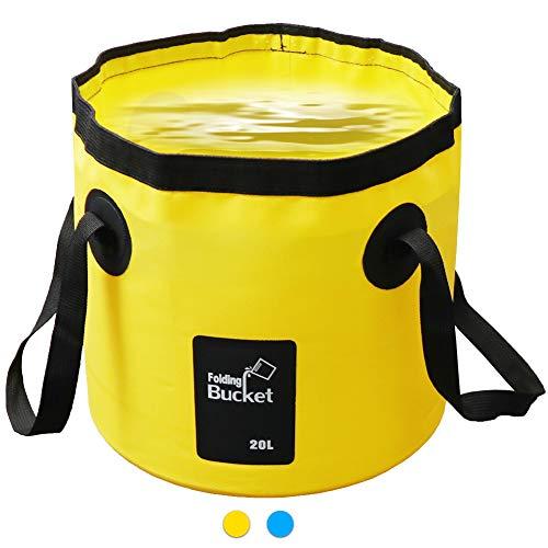 AUTOPkio Cubo Plegable 20L - Cubo Plegable portátil Portador de Agua Contenedor de Lavado para Acampar Senderismo Pesca Viajes (Amarillo)