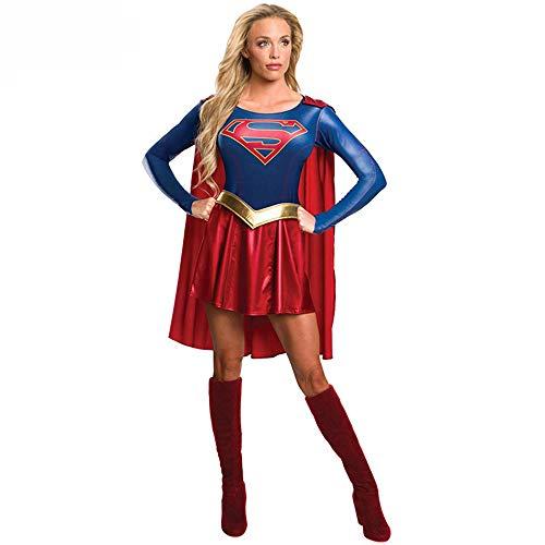 ZXRYF Supergirl Cosplay TV-Serie Adult Kostüm-Medium, Geeignet Für Weihnachtsfeier, Halloween-Maskerade, Karneval, Cosplay-Party, Maskerade, Mottoparty, Anime-Show,Blau,S