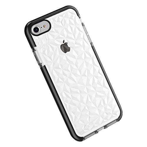 Funda iPhone 6 / 6s, Carcasa Silicona Transparente Protector TPU Airbag Anti-Choque Ultra-Delgado Anti-arañazos Case 3D Modelo Geométrico de Diamante Funda (iPhone 6 / 6S, Negro)