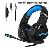 Auriculares A2 Stereo Gaming Headset 7 1 Virtual Surround Bass Gaming Auricular Auricular con Micrófono Luz Led para Computadora Pc Gamer Negro con Azul