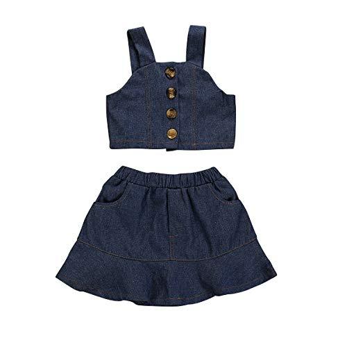 Julhold zomer peuter baby kinderen meisjes mouwloos eenvoudige vaste drager vest bovenstukken jeansrok vrije tijd set 0-5 jaar