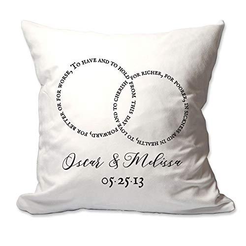 Sp567encer Wedding Vow Rings met naam en datum Decoratief kussen Cover Only Decoratieve Throw Pillow