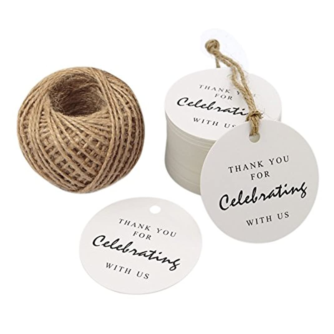 Thank You for Celebrating with Us Tag,Original Design Paper Gift Tag,100 PCS Kraft Tags with 100 Feet String for Wedding,Baby Shower, Party Favor (White)