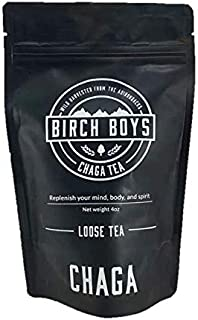 Birch Boys | Finely Ground Organic Loose Chaga Mushroom Extract - Great For Tea Drinkers - 4 oz Bag Makes 60 Cups