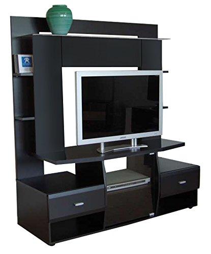 Berlioz Creations Tenor Meuble TV, Noir 130 x 51 x 145 cm, Fabrication 100% Française