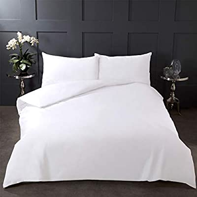 Highams 100% Pure Cotton Duvet Cover with Pillow Case Plain Dye Bedding Set from Highams