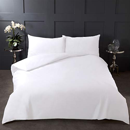 Highams 100% Pure Cotton Duvet Cover with Pillow Case Plain Dye Bedding Set - White, Double