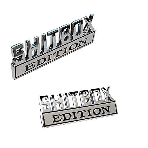 2 pc SHITBOX EDITION Emblem Decal Badge for RAM GM GMC Chevy Ford JEEP Car Truck