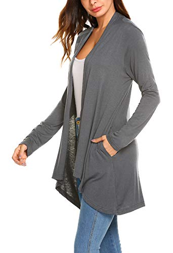 POGTMM Women's Casual Loose Long Sleeve Draped Open Front Sweater Cardigans with Pockets (Charcoal Grey, US L(12-14))