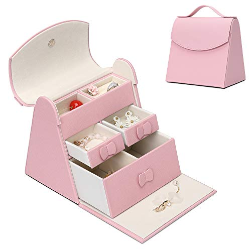 X•RHEA Girls Jewelry Box Jewelry Purse, Cute Trinket Box Little Girl Gifts for 4-9 Year Old Girl (Pink)