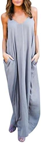 UOKNICE Clearance Women Solid Pocket Summer Beach Long Adjusted Maxi Slip Dress Gray Medium product image