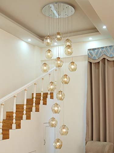 BDS lighting 15 Glaskugeln Treppe Kronleuchter Lange Pendelleuchte Duplex Gebäude Große Kronleuchter Wohnzimmer Villa Hohl Moderne Minimalistische Treppenlampe 60x300 cm