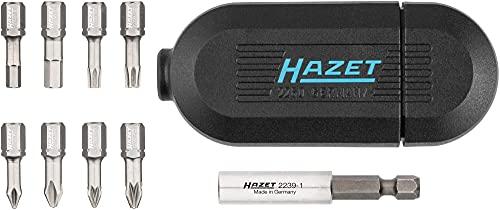 HAZET Edelstahl Bit-Satz (Kompaktes Gehäuse, 8 verschiedene Bits im Magazin, inkl. Bit-Halter, Made in Germany) 2260X/10N