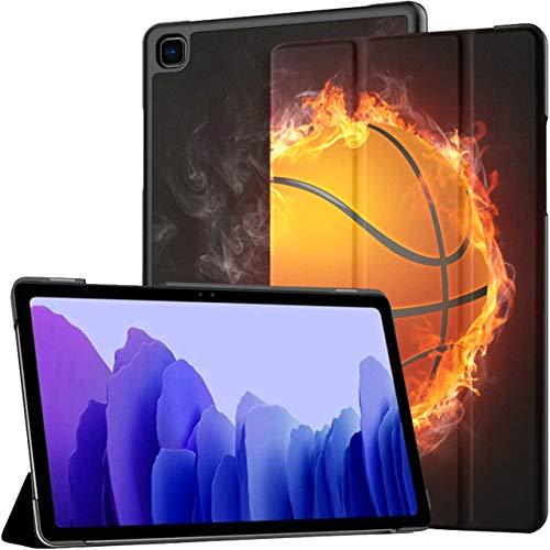 Funda para Samsung Galaxy Tab A7 Tablet 2020 de 10,4 Pulgadas (sm-t500 / t505 / t507), Funda de Soporte de ángulo múltiple con Llamas de Fuego envueltas en Pelota de Baloncesto con activación/suspe